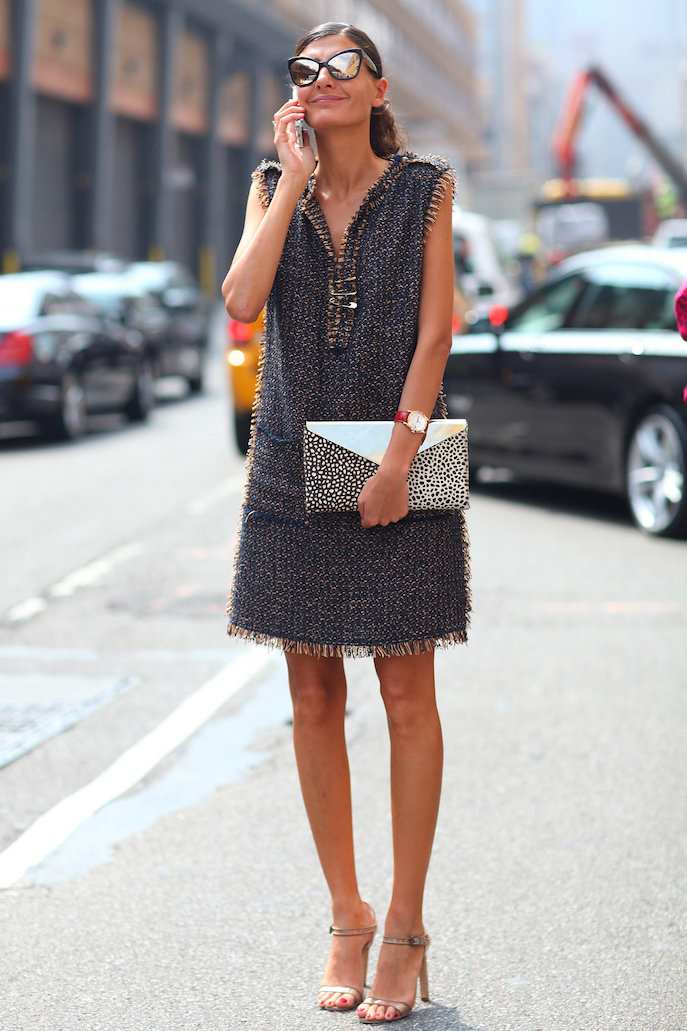 Giovanna-Battaglia-picture-perfect-tweedy-sheath-cat-eye